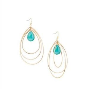 Multi-Teardrop Hoop Earrings, Blue